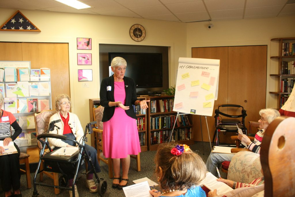 Dr. Carol Bokan of Wise Women teaches a grandmother activities workshop at Cathedral Square independent living Burlington, Vermont
