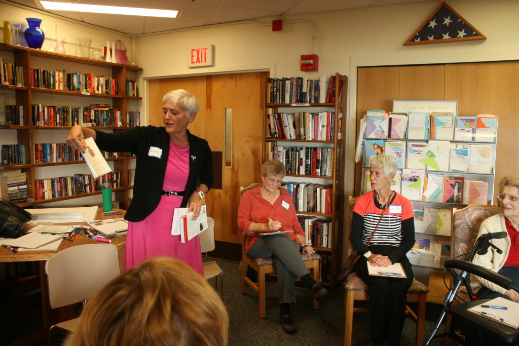Dr. Carol Bokan of Shelburne. Vermont teaches a course for senior grandmothers in Burlington assisted living facility