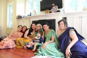 Tia's mother with granddaughters and great grandson